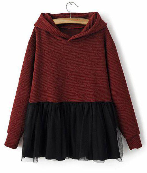 Lip Pattern Color Block Voile Splicing Long Sleeve Stylish Women's Hoodie - WINE RED ONE SIZE