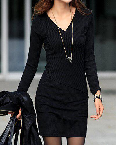 Stylish V-Neck Long Sleeves Solid Color Dress For Women - BLACK XL