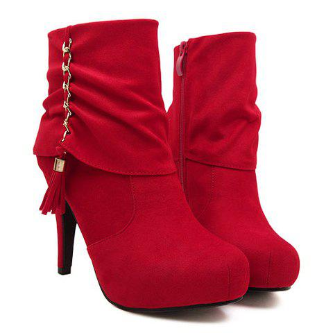 Trendy Tassels and Solid Color Design Women's Short Boots - RED 39