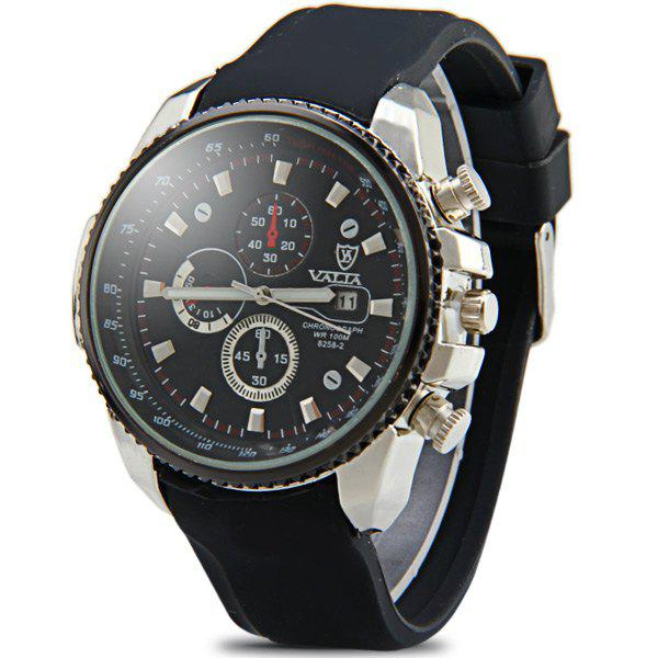 Valia 8258-2 Male Quartz Watch Day Decorative Non-functioning Sub-dials Rubber Watchband - BLACK