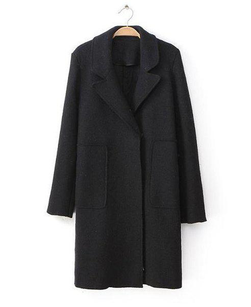 Solid Color Pocket Long Sleeve Lapel Neck Worsted Simple Style Women's Coat - BLACK L