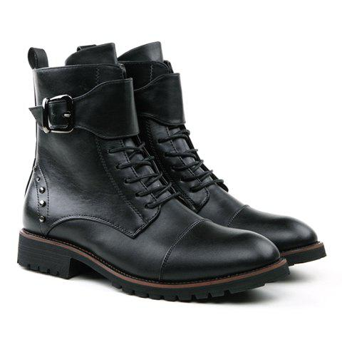 British Style Buckle and Rivets Design Men's Boots - BLACK 40