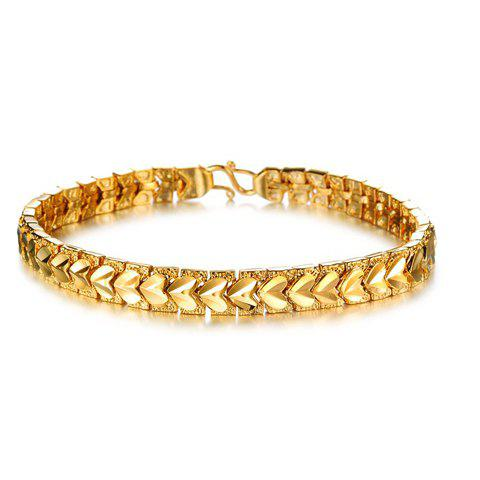 Stylish Women's Heart Pattern Link Gold Bracelet
