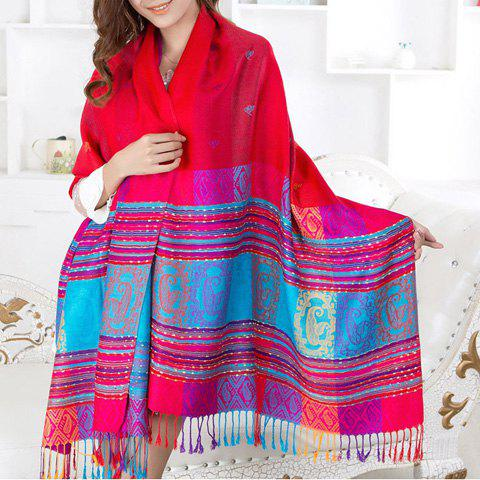 Ethnic Style Stripe Paisley Print Women's Tassels Pashmina - COLOR ASSORTED