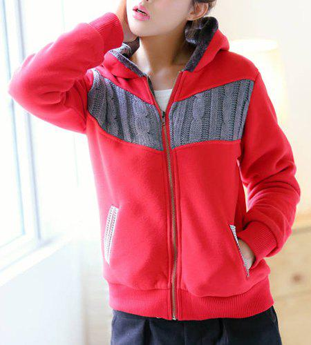 Fashionable Zippered Long Sleeve Hoodie For Women - RED M