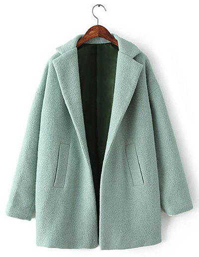Solid Color Worsted Long Sleeve Turn-Down Collar Simple Style Women's Coat - GREEN L