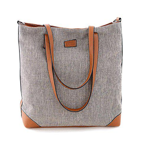 Stylish Color Block and Canvas Design Shoulder Bag For Women - GRAY