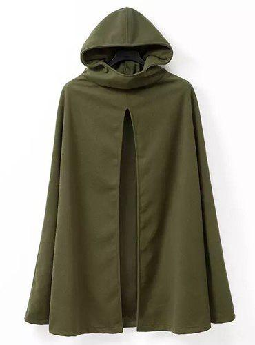 Street Style Solid Color Hooded Long Sleeve Worsted Cloak For Women