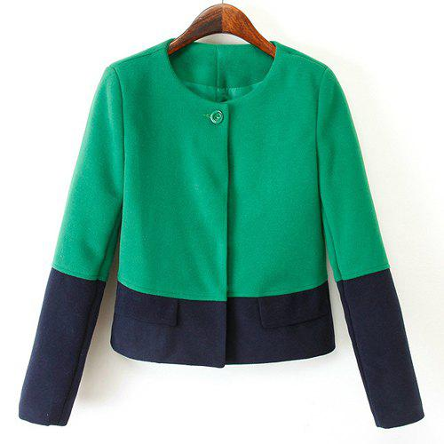 Sweet Color Block Round Neck Long Sleeve Worsted Coat For Women - BLUE/GREEN S