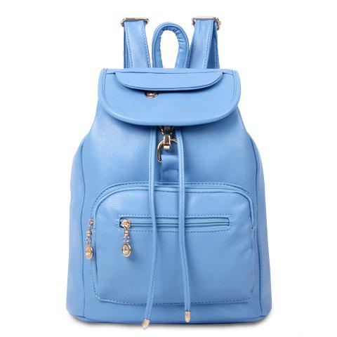 Preppy String and Metallic Design Satchel For Women - BLUE
