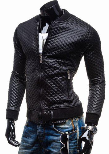 Trendy Slimming Plaid Long Sleeves Stand Collar Solid Color Thicken Zipper Design Men's Leather Jacket - BLACK L