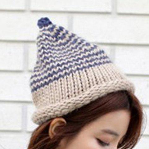 Cute Women's Wavy Pattern Hemming Beanie Hat - COLOR ASSORTED