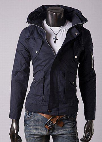 Trendy Slimming Long Sleeves Turn-down Collar Double Design Zipper Embellished Solid Color Men's Cotton Jacket