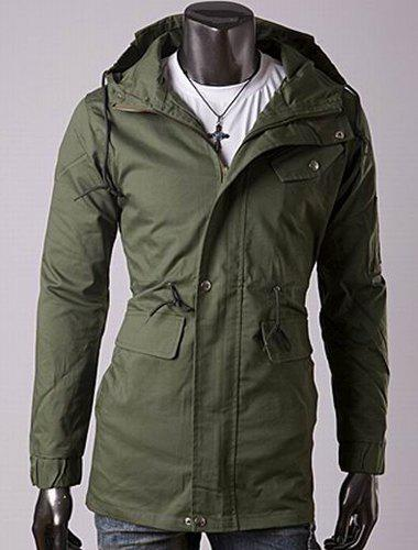 Casual Style Slimming Long Sleeves Hooded Solid Color Drawstring Design Waist Men's Cotton Jacket - ARMY GREEN L