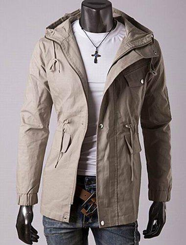 Casual Style Slimming Long Sleeves Hooded Solid Color Drawstring Design Waist Men's Cotton Jacket - KHAKI M