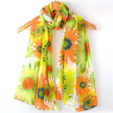Exquisite Multicolor Floral Print Chiffon Scarf For Women