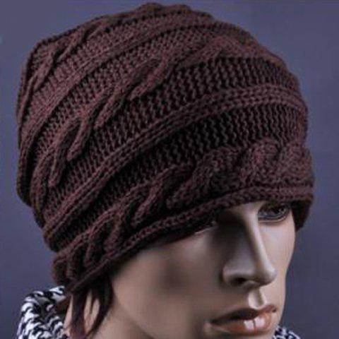 Stylish Knitting Pattern Decorated Beanie Hat For Men, COFFEE in Hats ...