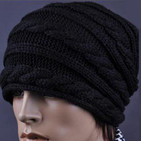 Stylish Knitting Pattern Decorated Beanie Hat For Men, BLACK in Hats ...