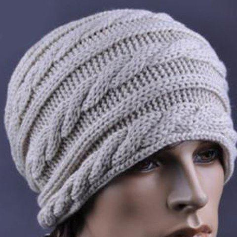 Stylish Knitting Pattern Decorated Beanie Hat For Men, OFF WHITE in ...