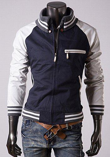 Trendy Slimming Long Sleeves Turn-down Collar Knitting Design Leather Splicing Color Block Men's Cotton Jacket