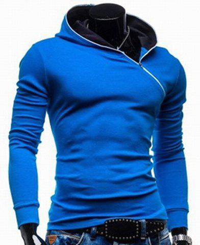 Trendy Long Sleeves Hooded Personality Inclined Zipper Design Slimming Solid Color Men's Cotton Blend Hoodies - BLUE L