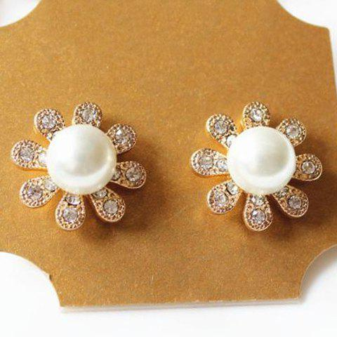 Pair of Cute Women's Faux Pearl Embellished Flower Shape Earrings