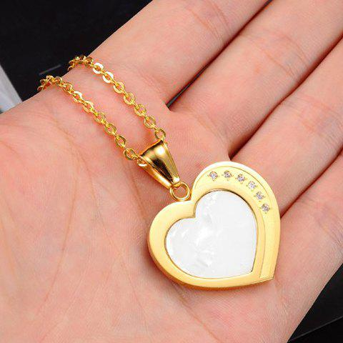 Rhinestone Heart Pendant Necklace - AS THE PICTURE