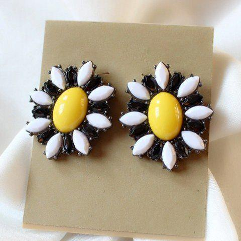 Pair of Gorgeous Women's Faux Gemstone Embellished Daisy Shape Earrings - COLORMIX