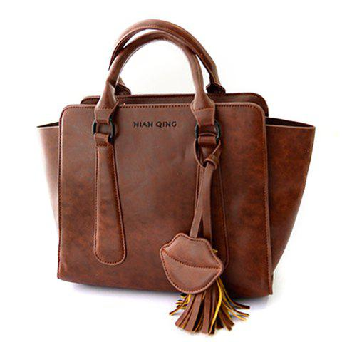 Fashion Tassels and Lip Pendant Design Women's Shoulder Bag - BROWN
