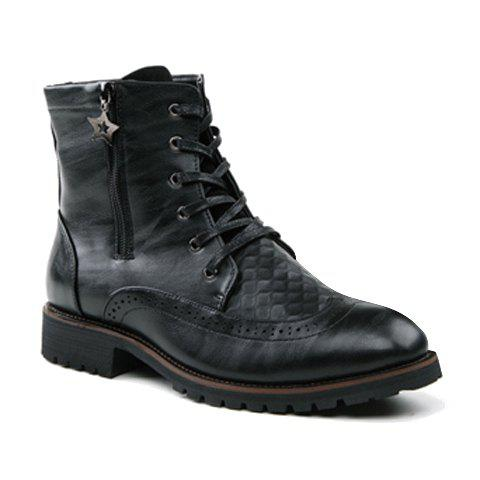 Stylish Hollow Out and Checked Design Boots For Men - BLACK 41