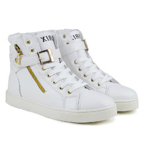 Stylish Buckle and Zip Design Casual Shoes For Men - WHITE 43