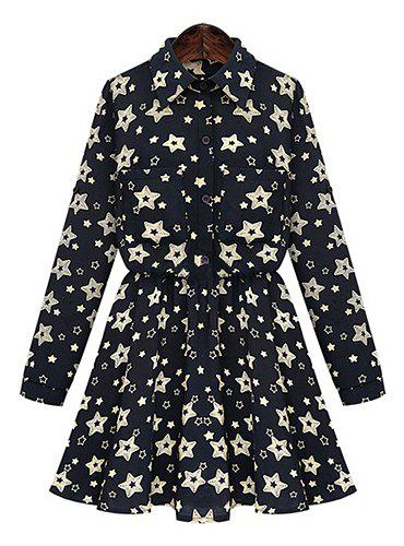 Elegant Polo Collar Five-Point Star Print Elastic Waist Long Sleeve Dress For Women - BLACK L
