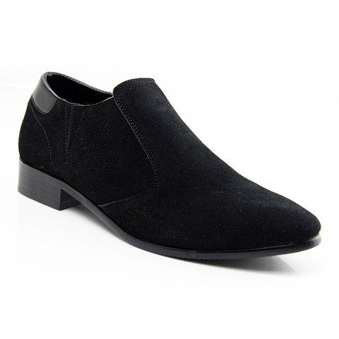 Stylish Pointed Toe and Suede Design Formal Shoes For Men - BLACK 44