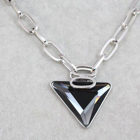 Sweet Cute Women's Triangle Shape Rhinestone Decorated Sweater Chain Necklace - SILVER