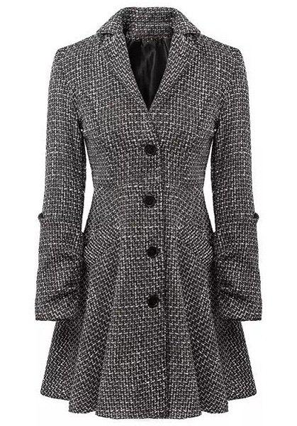 Checked Lapel Neck Long Sleeve Single-Breasted Slimming Stylish Women's Coat - GRAY M