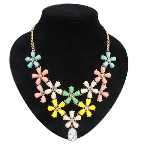 Delicate Women's Candy Color Flowers Embellished Neckalce - COLORFUL
