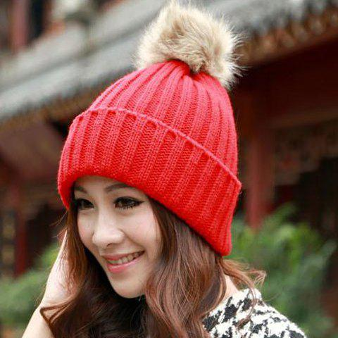 Cute Women's Solid Color Hat - ONE SIZE RED