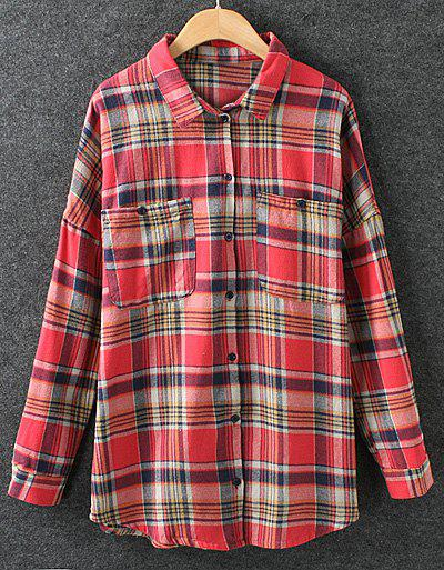 Preppy Style Polo Collar Plaid Long Sleeve Cotton Blouse For Women