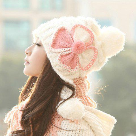 Stylish Chic Women's Bowknot Decorated Knitting Trapper Hat - COLOR ASSORTED