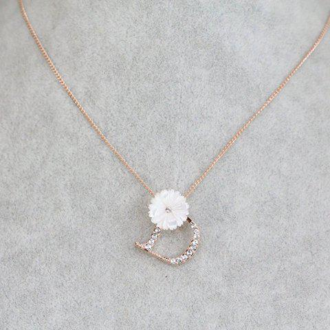 Stylish Chic Women's Rhinestone Letter Flower Pendant Necklace - COLOR ASSORTED