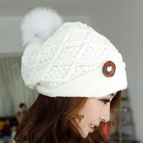 Stylish Chic Women's Button Ball Decorated Woolen Hat -