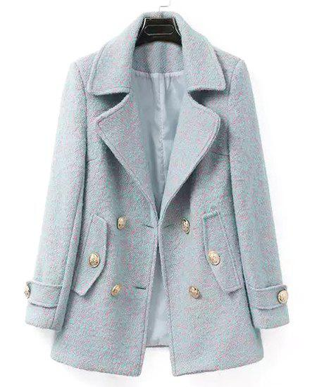 Color Mixed Worsted Lapel Neck Long Sleeve Double-Breasted Stylish Women's Coat - LIGHT GRAY S