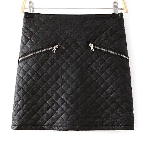 Faux Leather Checked Pattern Zipper Embellished Stylish Women's Skirt - BLACK L