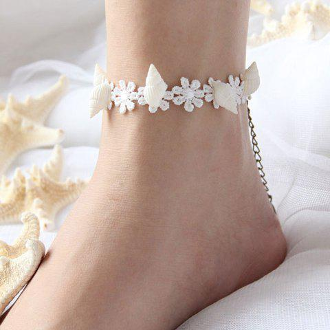 Cute Women's Conch Embellished Anklet - WHITE