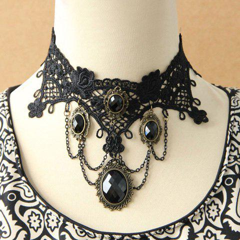 Multilayered Faux Gemstone Lace Pendant Necklace - AS THE PICTURE