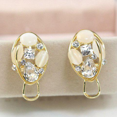 Pair of Stylish Chic Women's Rhinestone Opal Openwork Ellipse Earrings - WHITE