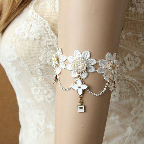 Elegant Flower Pendant Lace Bracelet For Women - WHITE