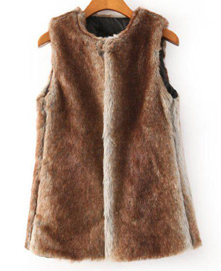 Faux Fur Gradient Color Round Collar Sleeveless Trendy Style Women's Waistcoat - DARK KHAKI M