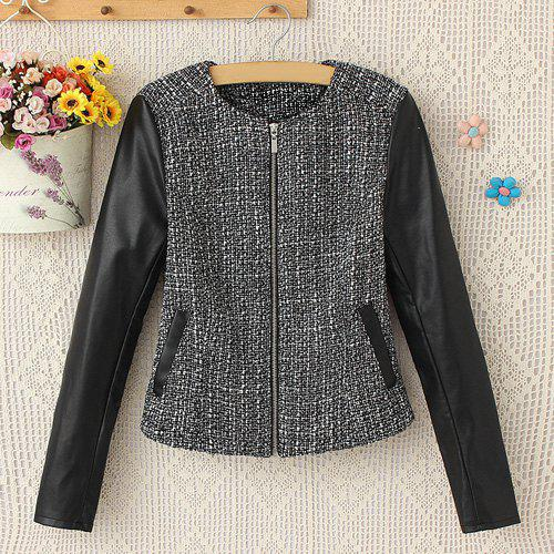 Faux Leather Splicing Round Collar Long Sleeve Stylish Women's Jacket