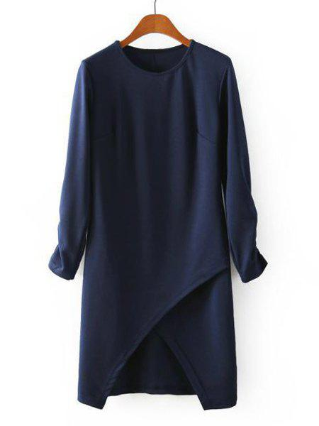 Solid Color Irregular Hem Round Collar Long Sleeve Stylish Women's Dress - PURPLISH BLUE L